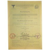 3rd Reich DAF Certificate for getting a profession of demolition man