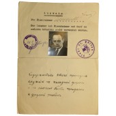 Ausweis for austrian Railway worker issued by Soviet side