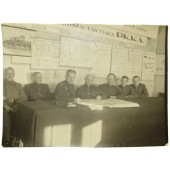 Photo of the RKKA chief staff at the headquarters with a map