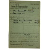 Certificate of the victim of the bombing. Third Reich.