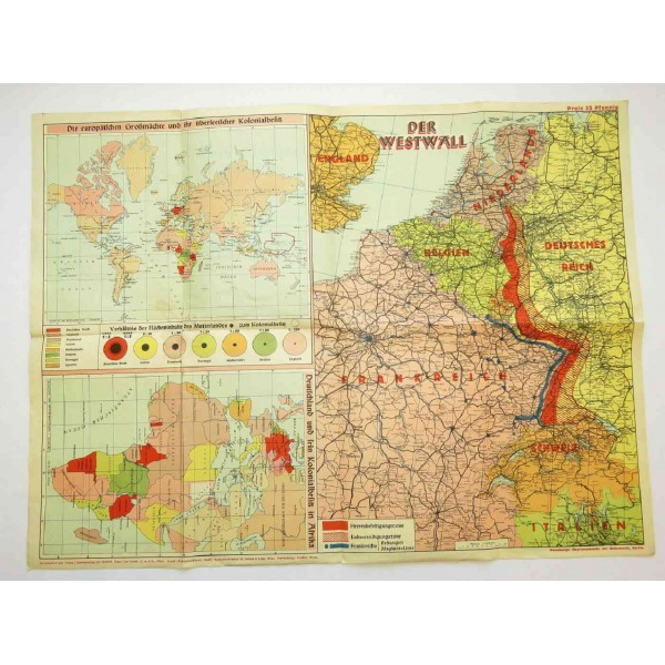 WW2 Map - German borders in the west. Westwall und Maginot-Linie Map Of The West Ins on
