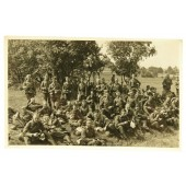 German soldiers posing at the rest during the company training. Pre-war time.