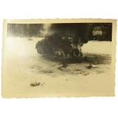 Burning HQ car Opel Olympia on  November 11, 1941, Eastern Front