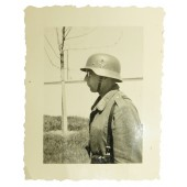Photo of the Luftwaffe soldier wearing steel helmet