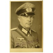 German Lieutenant's portrait in Feldbluse and crusher style visor