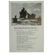 Postcard with German military songs series Am Abend auf der Heide