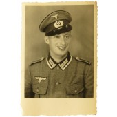 Wehrmacht Photo portrait of Unteroffizier-Pionier wearing  visor cap and M36 tunic