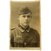 Young Unteroffizier, the veteran of eastern front,  studio portrait