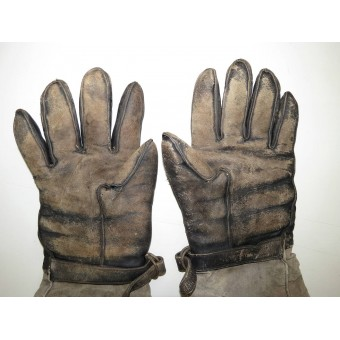 Leather gloves with fur liner for armored troops RKKA. Espenlaub militaria