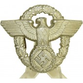 Aluminum 3rd Reich Police hat badge.