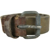 "RKKA soldier's canvas belt, stamped ""Leningrad""."