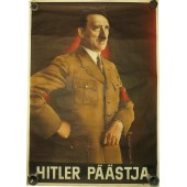 "WW2 original propaganda poster with Hitler  for Estonians ""Hitler Päästja"""