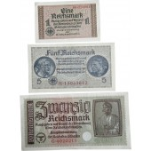 1, 5 and 20 Reichsmark for occupied Eastern territories- Ostland