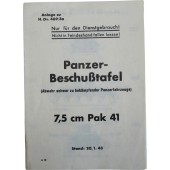 German guide to engaging the enemy tanks. 7,5 cm Pak 41 Anti-tank gun