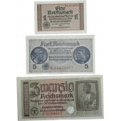 Set of 3rd Reich war time banknotes for Ostland