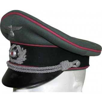 Wehrmacht Heer, Panzer or Anti-tank visor hat with pink piping. Espenlaub militaria