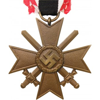 War Merit cross/ KVK II 1939 second class w/swords Fat Swastika. Espenlaub militaria