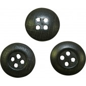 Wooden button for tunics and trousers, black. 14 mm