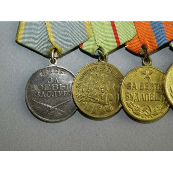 WW2 combat medals bar: Stalingrad medal, Vienna, Budapest and others. Espenlaub militaria