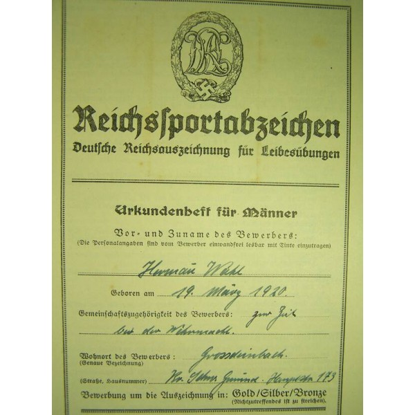 Drl Reichsportabzeichen Sportbadge Certificate Certificates Docs