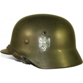 3rd Reich Wehrmacht M35, N.S 64, ex Police double decal helmet.