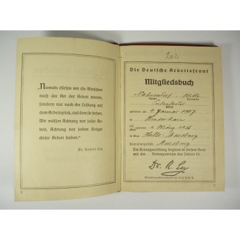 3rd Reich Arbeitsfront Members payments book. Espenlaub militaria