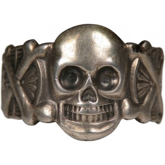 Silver traditional ring with skull from the 3rd Reich period. Sterling silver 835. Espenlaub militaria