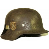 Waffen SS M35 DD helmet Mountain Div. NORD, battle damaged