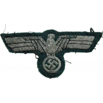 Wehrmacht officers aluminum bullion embroidered breast eagle. Espenlaub militaria
