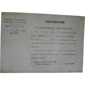 WW2 military certificate. Espenlaub militaria