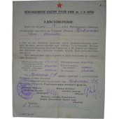 WW2 Military Certificate of the medical education