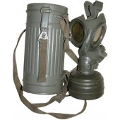 Early M 37 gasmask with canister, Lufschutzpolizei reissued