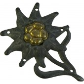 Oxidized steel German Gebirgsjager hat side emblem - Edelweiss
