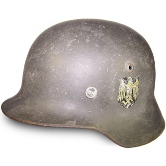 German WW2 ET 62 Double decal WH Heeres steel helmet. Espenlaub militaria