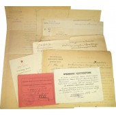Set of the papers, id, certificates from 1918 till 1945 issued to the Peotr Symeonovich Bronevitsky. Officer of Red Fleet.