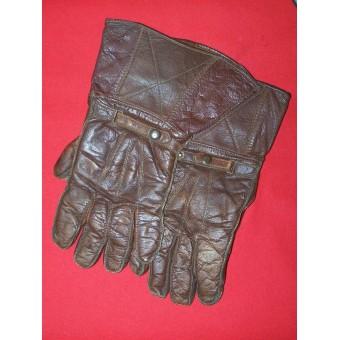 WW2 British or US leather gloves for tankman crew. Espenlaub militaria
