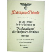 3 Reich Berufswettkampf certificate for the competition winner