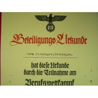 3 Reich Berufswettkampf certificate for the competition winner. Espenlaub militaria