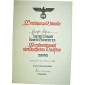 3 Reich certificate for the competition winner