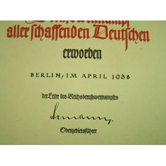 3 Reich certificate for the competition winner. Espenlaub militaria