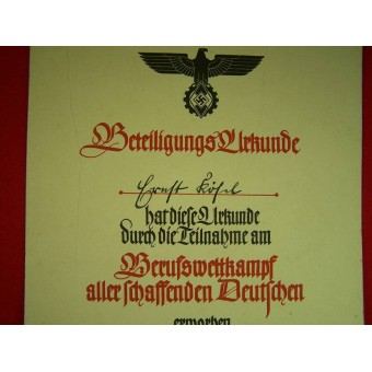 3 Reich certificate for the competition winner. Espenlaub militaria