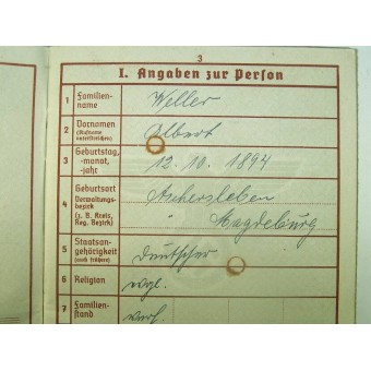 3rd Reich Wehrpass. Espenlaub militaria