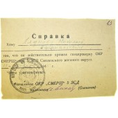 Certificate issued by SMERSH (security military police) to the POW.