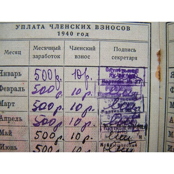 9e4a4e3a0889 Soviet Communists party VKP(b) membership ID book