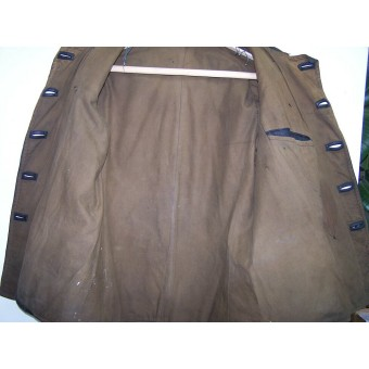 M 35 set of leather protective suit for Captain of armored troops, jacket +trousers.. Espenlaub militaria