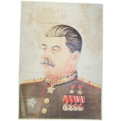 Stalin portrait with Food Coupons valid for the area Langreo-Asturas, Spain.