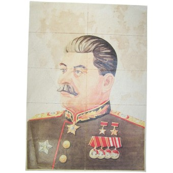 Stalin portrait with Food Coupons valid for the area Langreo-Asturas, Spain.. Espenlaub militaria