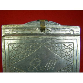 WW2 Trench Art. Cigarette Case made by the soldier. Dated 1943.. Espenlaub militaria