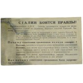 German WW2 original leaflet for Russian soldiers- Stalin afraid of Truth