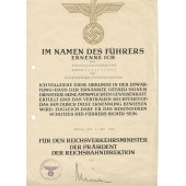 3 Reich certificate for professional grow issued to Reichsbahninspectoranwärter